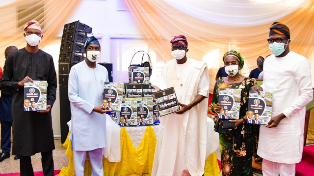 L-R: Lagos State Deputy Governor, Dr. Obafemi Hamzat; Chief Press Secretary to the Governor, Mr. Gboyega Akosile; Governor Babajide Sanwo-Olu; Secretary to the State Government, Mrs. Folasade Jaji and Chief of Staff to the Governor, Mr. Tayo Ayinde during the public presentation of two books  -Towards a Greater Lagos and Testimonies: Indisputable Proofs of Dividends of Democracy, as part of activities to commemorate the First Year in Office of the Sanwo-Olu's administration, at Lagos House, Marina, on Friday, May 29, 2020.