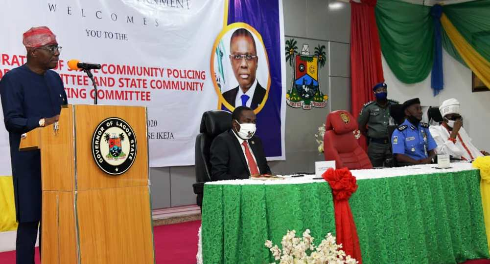 L-R: Lagos State Governor, Mr. Babajide Sanwo-Olu, addressing Heads of Security Agencies, stakeholders and other guests during the inauguration of State Community Policing Advisory Committee (SCPAC) and the State Community Policing Committee (SCPC) at Lagos House, Alausa, Ikeja, on Wednesday, June 3, 2020. With him: Deputy Governor, Dr. Obafemi Hamzat; Assistant Inspector General of Police (AIG), Training & Development, Force Headquarters, Mr. David Folawiyo and Oba of Lagos & Co-Chairman of SCPAC, Oba Rilwan Akiolu I.