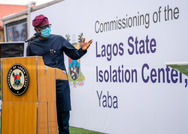 Lagos State Governor, Mr. Babajide Sanwo-Olu, addressing stakeholders at the commissioning of Isolation Centre Yaba II, donated by CACOVID, on Sunday, June 28, 2020
