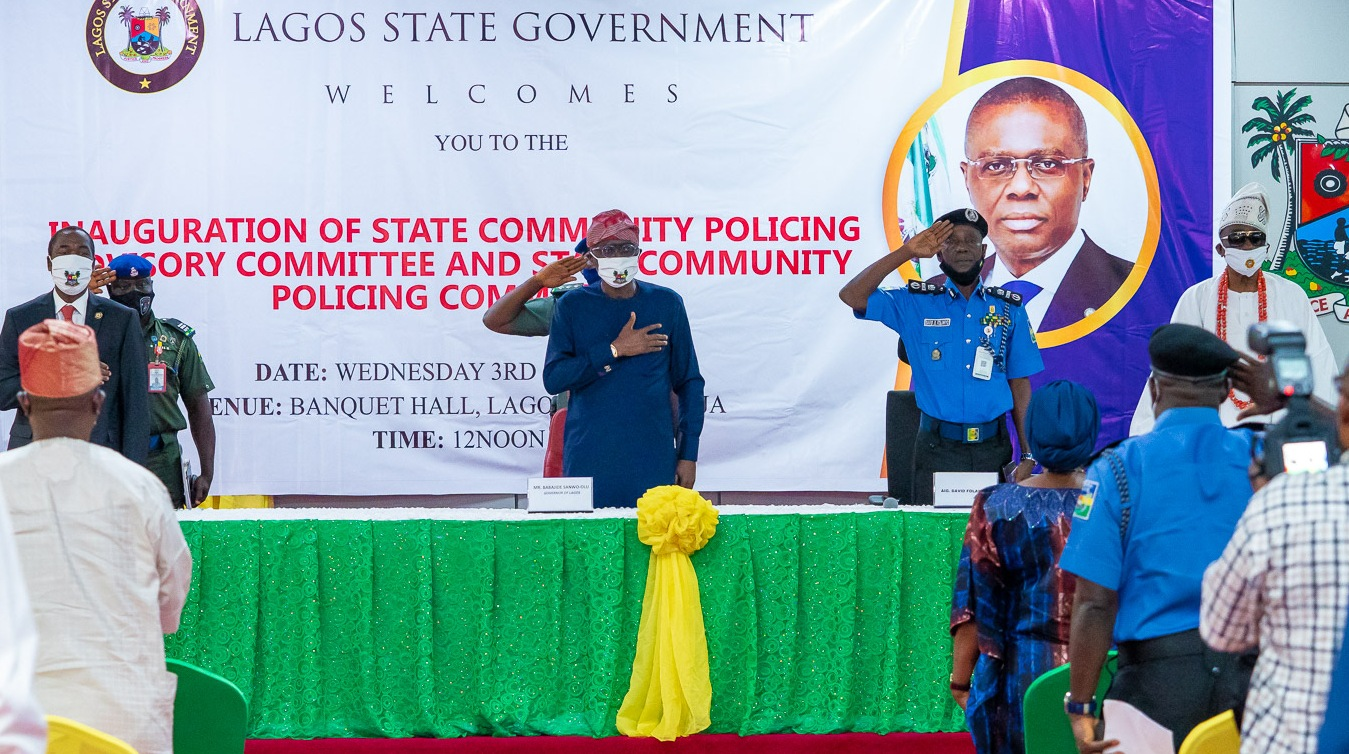 L-R:  Lagos State Deputy Governor, Dr. Obafemi Hamzat; Governor Babajide Sanwo-Olu; Assistant Inspector General of Police (AIG), Training & Development, Force Headquarters, Mr. David Folawiyo and Oba of Lagos & Co-Chairman, State Community Policing Advisory Committee (SCPAC), Oba Rilwan Akiolu I, during the inauguration of SCPAC and the State Community Policing Committee (SCPC), at Lagos House, Alausa, Ikeja, on Wednesday, June 3, 2020.
