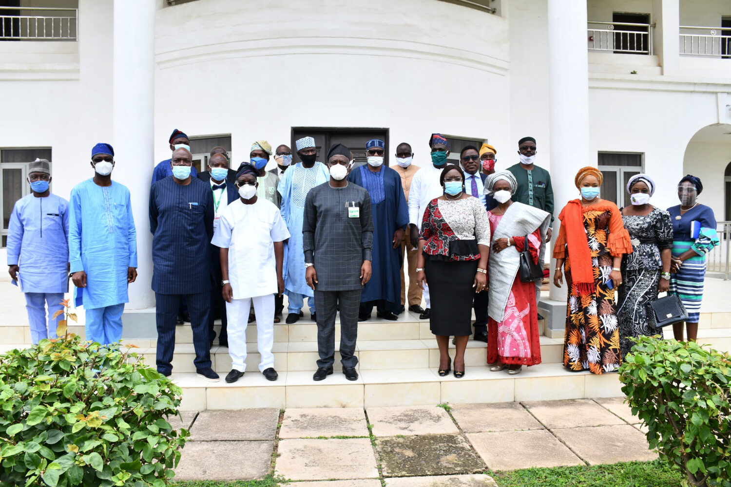 Oyo State Governor, Engr Seyi Makinde (middle) with the chairmen  of Oyo State Boards of Tertiary Institutions during their Inauguration at Government House, Ibadan. PHOTO: Oyo State Government.