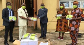 NSE Photo News: During The NSE's Donation Of 5,000 Non-Medical Face Masks To The Ogun State Task Force for COVID-19.