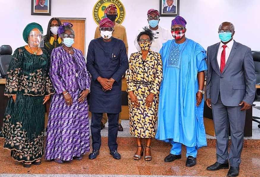 L-R: Newly appointed members of the Lagos State Audit Service Commission, Commissioner IV, Mrs. Kafilat Adetola Ogbara; Commissioner I, Mrs. Jokotola Ojosipe-Ogundimu; Governor Babajide Sanwo-Olu; Chairman of the Commission, Mrs. Oluwatoyin Adegbuji-Onikoyi; Commissioner II, Mr. Emmanuel Sunday Kappo and Commissioner III, Mr. Jimoh Akanbi Ibrahim, during the swearing-in ceremony of the Commission, at the EXCO chamber, Lagos House, Alausa, Ikeja, on Tuesday, July 28, 2020.