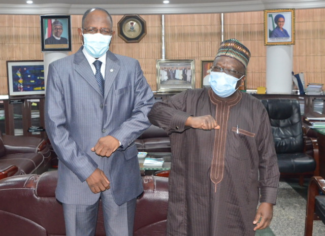 Director General, Securities and Exchange Commission, SEC, Mr. Lamido Yuguda and Permanent Secretary Federal Ministry of Finance, Budget and National Planning, Dr.  Mahmoud Isa-Dutse during a meeting in Abuja, Tuesday.