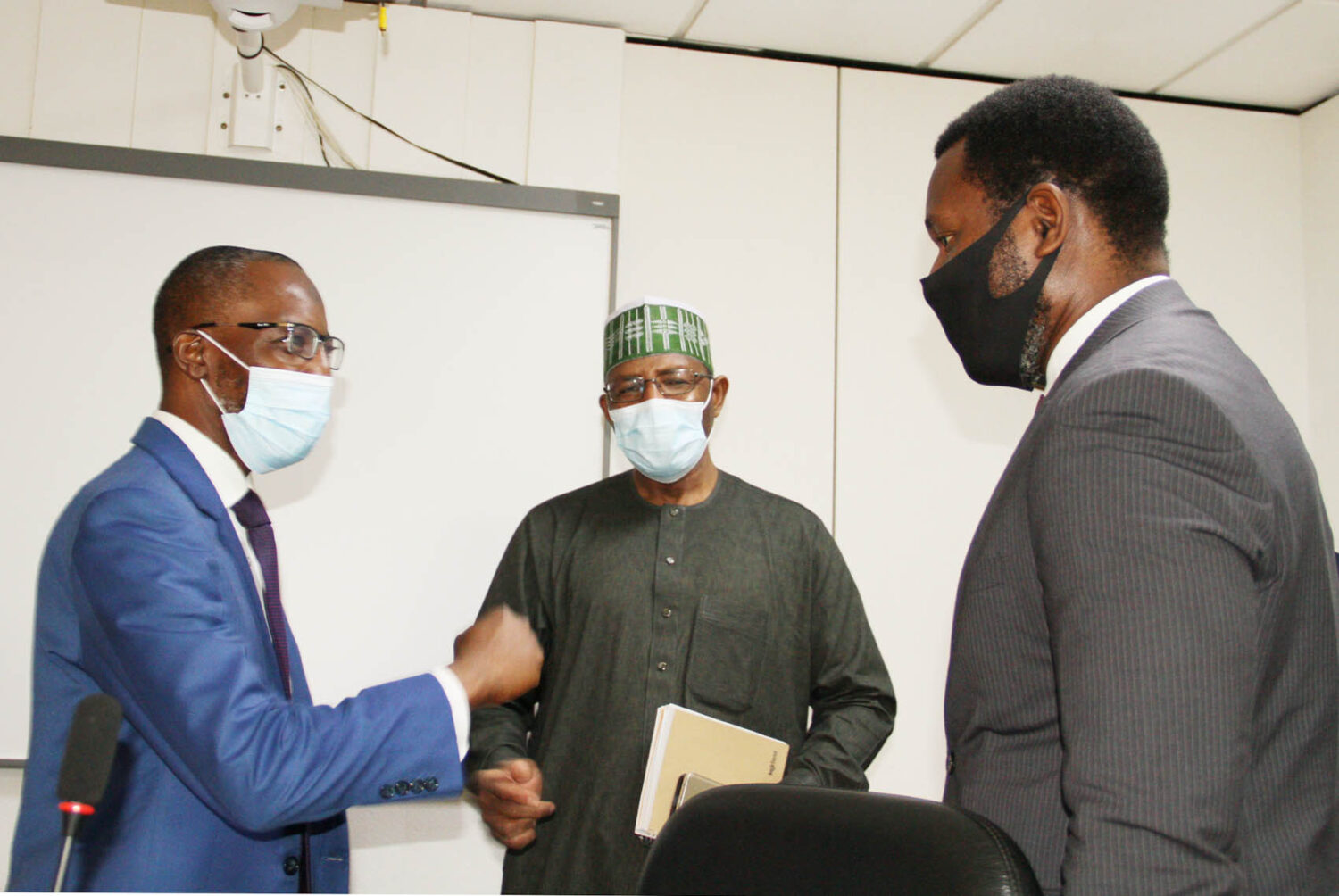 L-R,  Managing Director Jaiz Bank Mr Hassan Usman, Director General, Securities and Exchange Commission Mr Lamido Yuguda and Executive Commissioner Operations  SEC Mr Dayo Obisan during a Meeting between SEC and Jaiz Bank in Abuja yesterday
