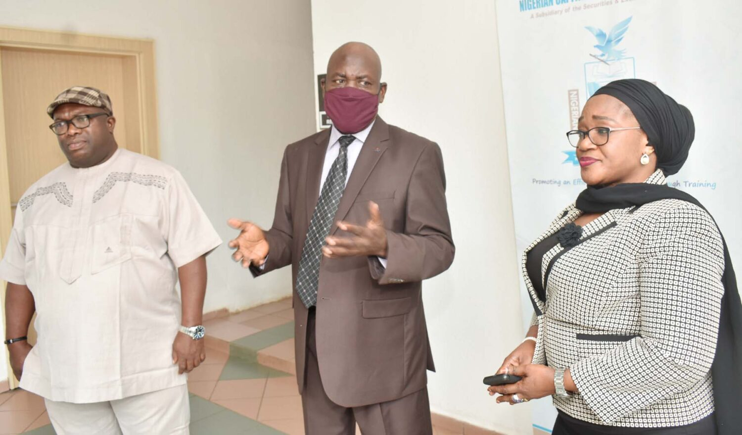 Head Programs/Secretary of the Board, Nigerian Capital Market Institute. Barr Isikong Isong, Managing Director NCMI, Mr Ismaila  Ville and Head Marketing, Consultancy, Research and Publications NCMI Mrs Sadaatu Faruk during a Media Briefing on the Activities of the Institute in Abuja, weekend.