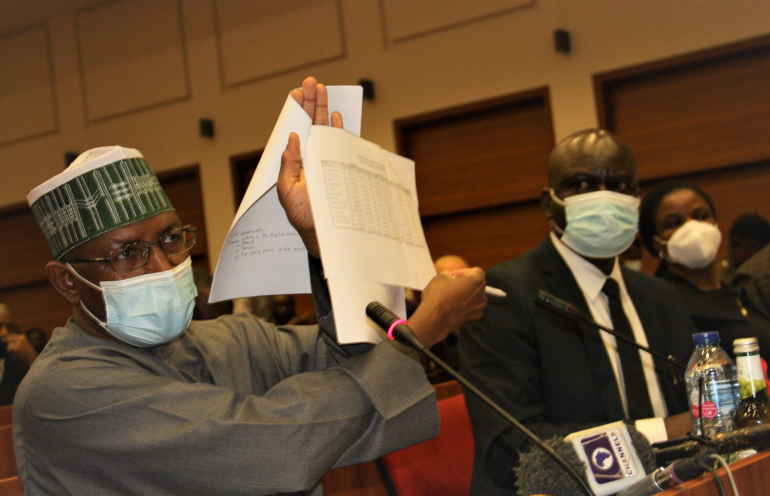 L-R,  Minister of Aviation Sen. Hadi Sirika with Director General, Securities and ExchangeCommission Mr Lamido Yuguda during a Senate Public Hearing Interactive Session on the 2021-2023 Medium Term Expenditure Framework and Fiscal Strategy Paper at the National Assembly yesterday