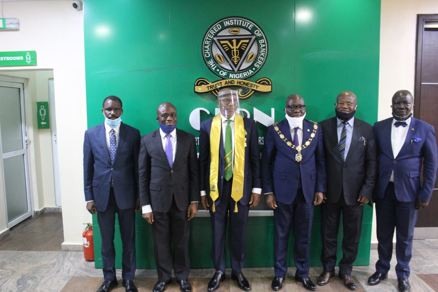 L-R: Mr. Dele Alabi, National Treasurer, Chartered Institute of Bankers of Nigeria; Dr. Ken Opara, 1st Vice President/Chairman, Board of Fellows/Practice Licence, CIBN; Mr. Fola Adeola, Awardee/ Founder & Pioneer MD/CEO. GTBank Plc; Mr. Bayo Olugbemi, President/Chairman of Council; CIBN; Prof Deji Olanrewaju, 2nd Vice President, CIBN and Mr. Seye Awojobi, Registrar/CEO, CIBN during the conferment of honorary Fellowship on Mr. Fola Adeola today at the Bankers House, Victoria Island, Lagos today