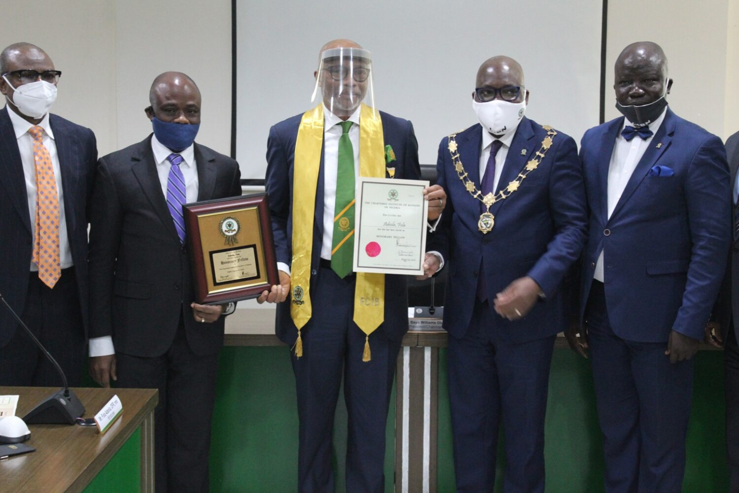 L-R: Mr. Yemi Adeola, former MD/CEO, Sterling Bank Plc; Dr. Ken Opara, 1st Vice President/Chairman, Board of Fellows/Practice Licence, Chartered Institute of Bankers of Nigeria; Mr. Fola Adeola, Awardee/ Founder & Pioneer MD/CEO. GTBank Plc; Mr. Bayo Olugbemi, President/Chairman of Council; CIBN; and Mr. Seye Awojobi, Registrar/CEO, CIBN during the conferment of honorary Fellowship on Mr. Fola Adeola today at the Bankers House, Victoria Island, Lagos today