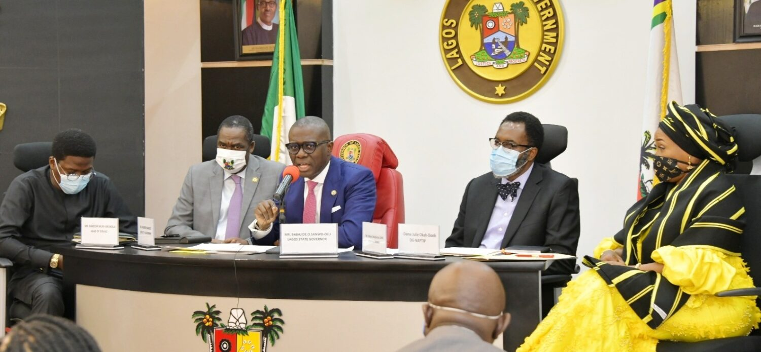 L-R: Lagos State Head of Service, Mr. Hakeem Muri-Okunola; Deputy Governor, Dr. Obafemi Hamzat; Governor Babajide Sanwo-Olu; Attorney General and Chairman, State Task Force on Human Trafficking, Mr. Moyosore Onigbanjo (SAN) and Director General, National Agency for the Prohibition of Trafficking in Persons (NAPTIP), Mrs. Julie Okah-Donli during the inauguration of the Lagos Task Force on Human Trafficking, at Lagos House, Alausa, Ikeja, on Tuesday, September 8, 2020.