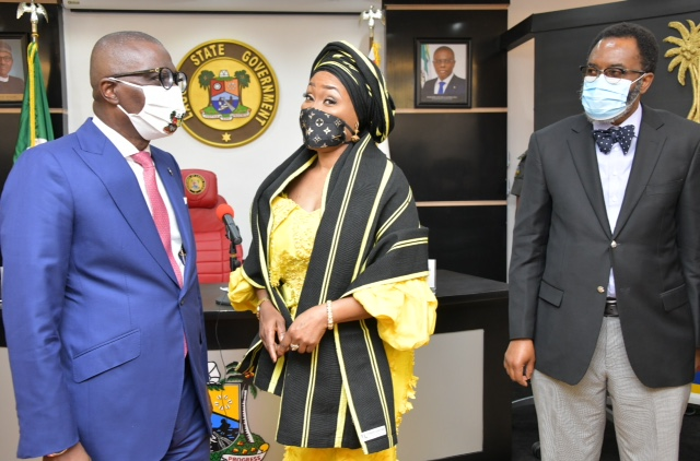 L-R: Lagos State Governor, Mr. Babajide Sanwo-Olu, Director General, National Agency for the Prohibition of Trafficking in Persons (NAPTIP), Mrs. Julie Okah-Donli and Attorney General and Chairman, State Task Force on Human Trafficking, Mr. Moyosore Onigbanjo (SAN), during the inauguration of the Lagos Task Force on Human Trafficking, at Lagos House, Alausa, Ikeja, on Tuesday, September 8, 2020.