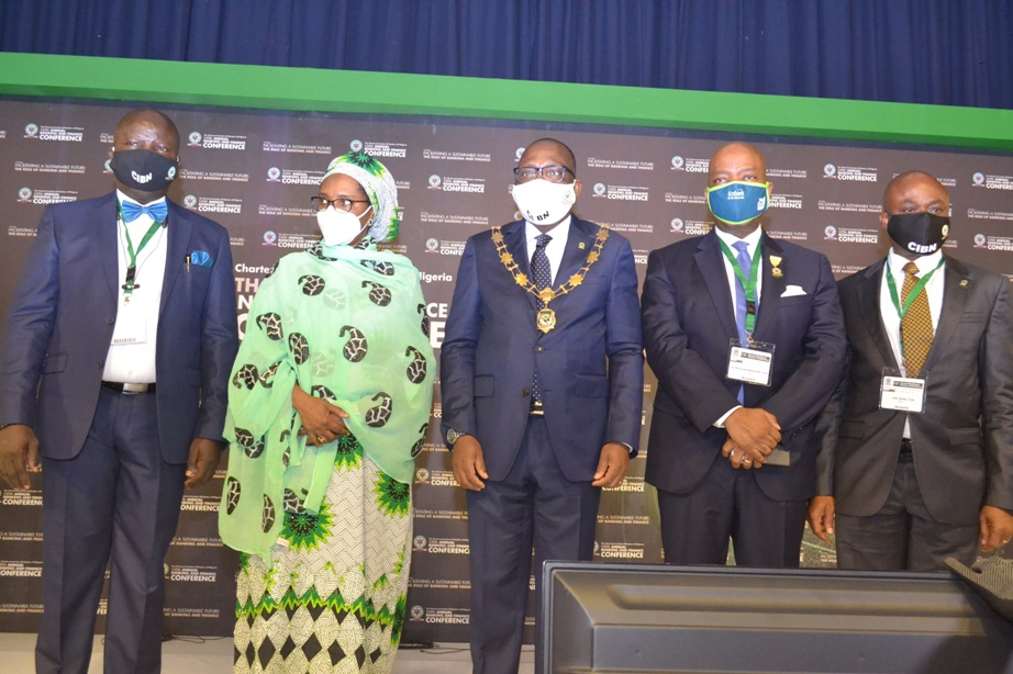 L-R: Mr. Seye Awojobi, Registrar/CEO, The Chartered Institute of Bankers of Nigeria, Mrs. Zainab Ahmed, Honourable Minister of Finance, Federal Republic of Nigeria, Mr. Bayo Olugbemi, President/Chairman of Council, CIBN; Mr. Patrick Akinwuntan, MD/CEO, Ecobank Nigeria & Chairman, Planning Committee of the 13th Annual Banking and Finance Conference and Dr. Ken Opara, 1st Vice President, CIBN during the hybrid 13th Annual Banking and Finance Conference held in Transcorp Hilton Hotel, Abuja.