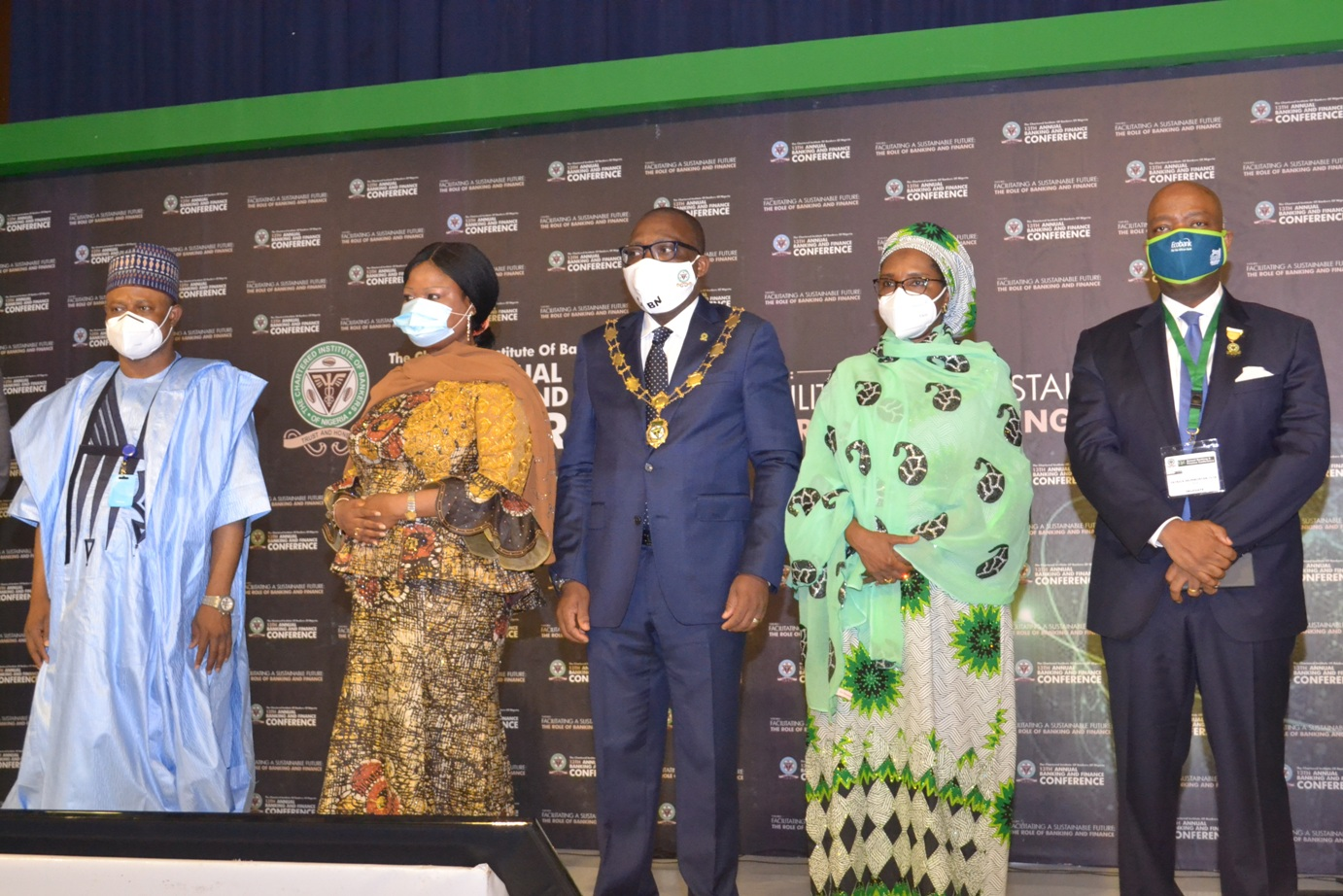 R-L: Mr. Godwin Emefiele, Governor, Central Bank of Nigeria, Dr. Segun Aina, Past resident, CIBN; Mr. Bayo Olugbemi, President/Chairman of Council, The Chartered Institute of Bankers of Nigeria and Mrs. Zainab Ahmed, Honourable Minister of Finance, Budget and National Planning, Federal Republic of Nigeria, CIBN; during the hybrid 13th Annual Banking and Finance Conference held in Transcorp Hilton Hotel, Abuja.