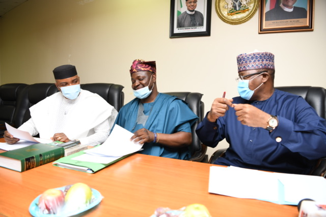L-R: Hon. Unyime Josiah Idem, Deputy Chairman, House Committee on Telecommunications; Hon. (Prince) Akeem Adeyemi, Chairman, House Committee on Telecommunications; Prof. Umar Garba Danbatta, Executive Vice Chairman/CEO, Nigerian Communications Commission (NCC), during the Committee's oversight visit to the Commission Headquarters recently in Abuja.