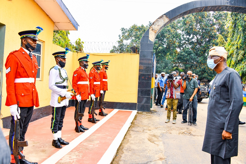 Lagos State Governor, Mr. Babajide Sanwo-Olu (right), inspecting a guard of honour during his visit to the Police Command Headquarters, Ikeja, on Wednesday, October, 28, 2020.