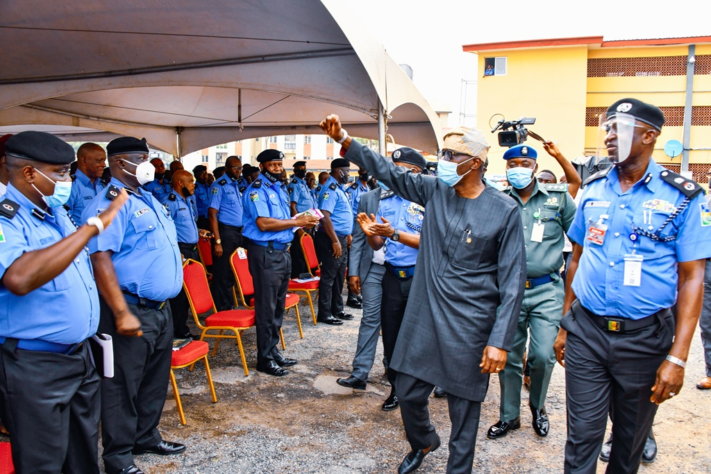 R-L: Lagos State Commissioner of Police, Mr. Hakeem Odumosu; Lagos State Governor, Mr. Babajide Sanwo-Olu interacting with other police officers during his visit to the Police Command Headquarters, Ikeja, on Wednesday, October, 28, 2020.