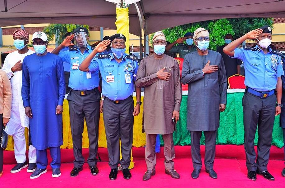 R-L: Deputy Inspector-General of Police (DIG), Mr. Leye Oyebade; Lagos State Governor, Mr. Babajide Sanwo-Olu; his deputy, Dr. Obafemi Hamzat; Assistant Inspector General of Police (AIG) Zone 2 Command, Mr. Ahmed Iliasu; Lagos Commissioner of Police, Mr. Hakeem Odumosu; Head of Service, Mr. Hakeem Muri-Okunola and Special Adviser to the Governor on Education, Mr. Tokunbo Wahab, during the Governor's visit to the Police Command Headquarters, Ikeja, on Wednesday, October, 28, 2020.