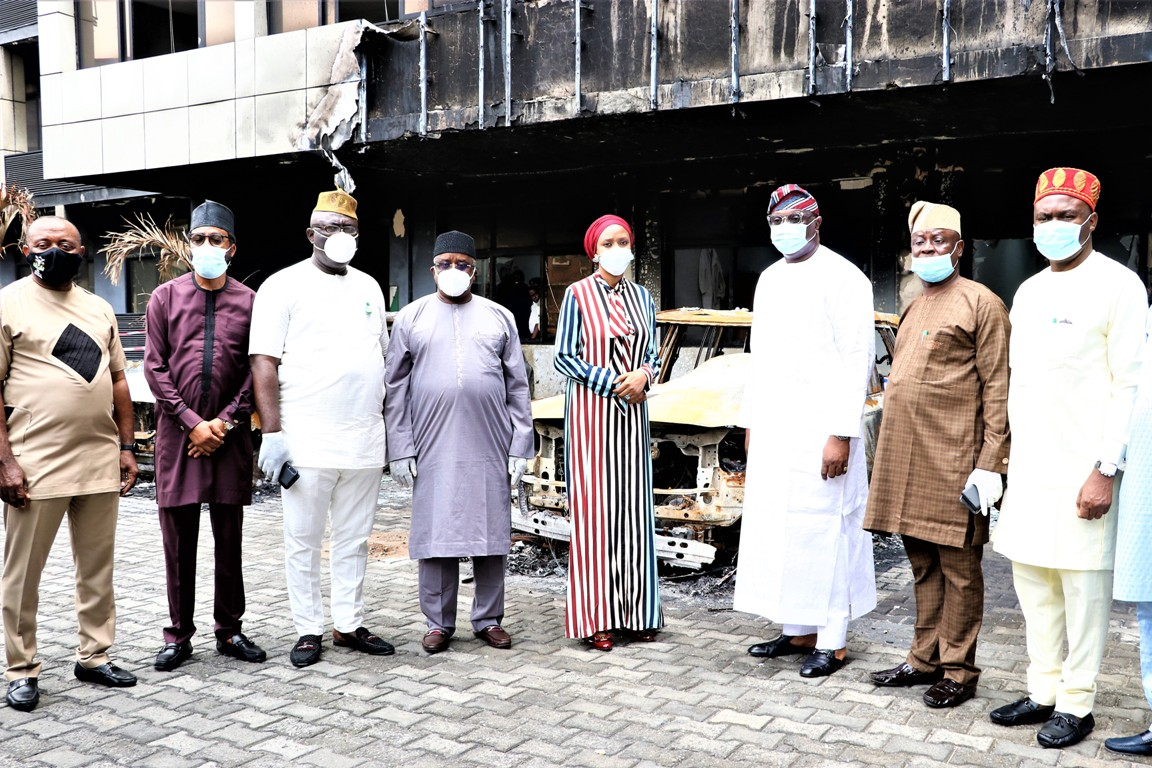 The Chariman, House Committee on Ports, Harbours and Waterways, Hon. Mohammed Garba Datti (4th from left), MD NPA, Hadiza Bala Usman (5th from left), Representative of Chairman, Senate Committee on Marine Transport Senator Tolulope Oddebiyi, Senator Ibrahim Yahaya, other Senators and top management of NPA during the visit.