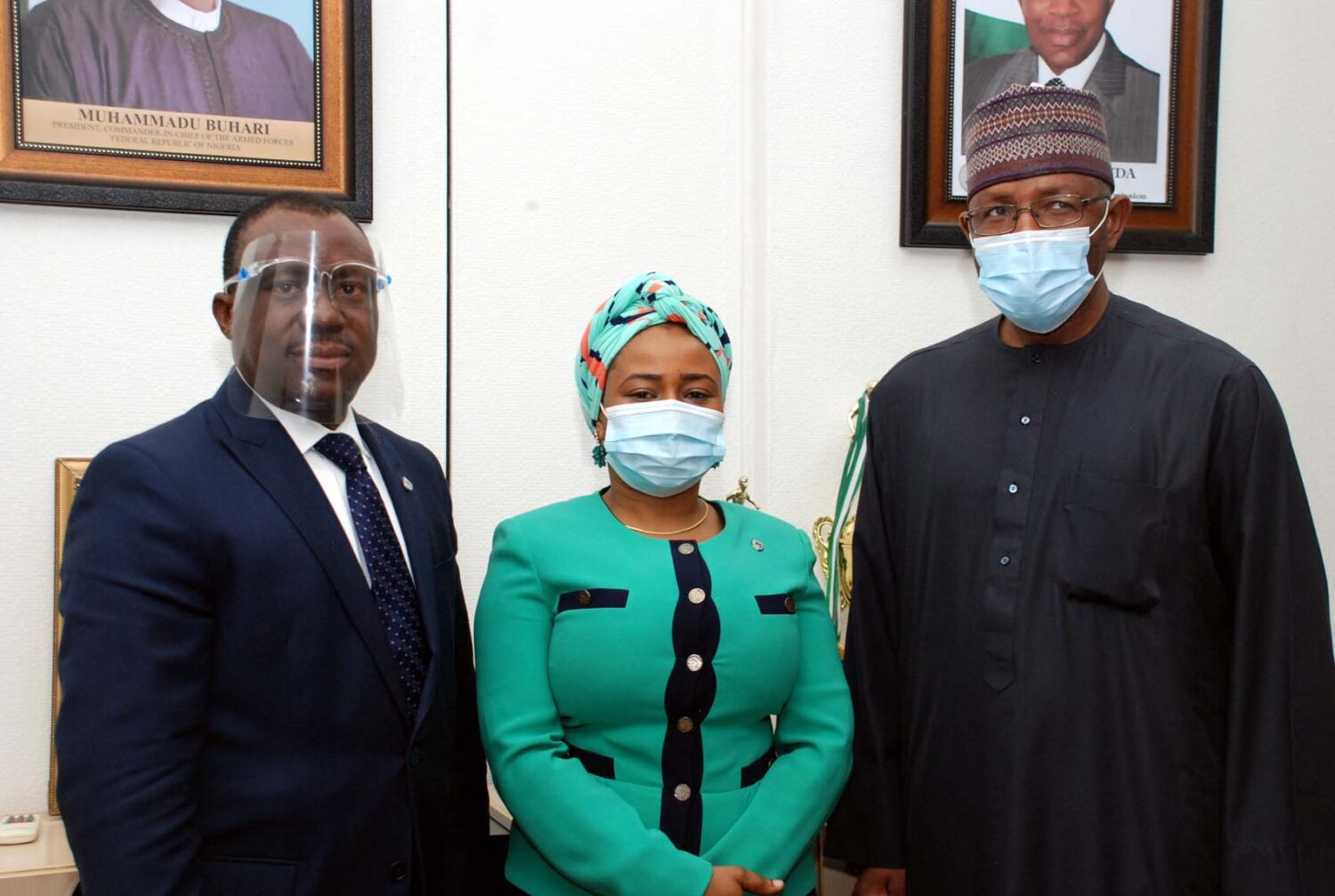 L-R,  Chief Executive Officer, Stanbic IBTC Bank Dr Demola Sogunle, Country Head Public Sector Stanbic IBTC Bank Hajia Hauwa Bello and Director General, Securities and Exchange Commission Mr Lamido Yuguda during a Meeting between The SEC and Stanbic IBTC Bank in Abuja.