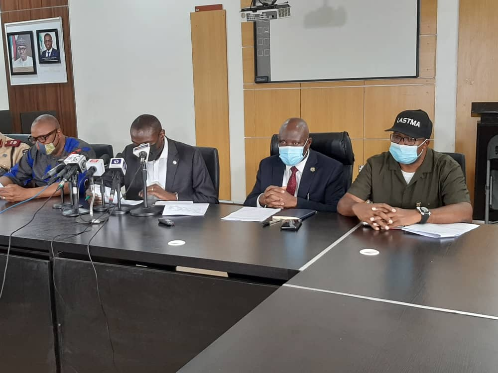 L-R: SpeL-R: Special Adviser to Lagos State Governor, Mr. Toyin Fayinka; Commissioner for Transportation, Dr. Federic Oladeinde; Permanent Secretary, Ministry of Transportation, Mr. Oluseyi Whenu and General Manager, Lagos State Traffic Management Authority (LASTMA), Mr. Olajide Oduyoye during a media briefing on traffic violations by Motorcycle (Okada) and Tricycle riders on Lagos roads, at the Bagauda Kaltho Press Centre, the Secretariat - Alausa, Ikeja, on Wednesday, November 19, 2020. cial Adviser to Lagos State Governor, Mr. Toyin Fayinka; Commissioner for Transportation, Dr. Federic Oladeinde; Permanent Secretary, Ministry of Transportation, Mr. Oluseyi Whenu and General Manager, Lagos State Traffic Management Authority (LASTMA), Mr. Olajide Oduyoye during a media briefing on traffic violations by Motorcycle (Okada) and Tricycle riders on Lagos roads, at the Bagauda Kaltho Press Centre, the Secretariat - Alausa, Ikeja, on Wednesday, November 19, 2020.