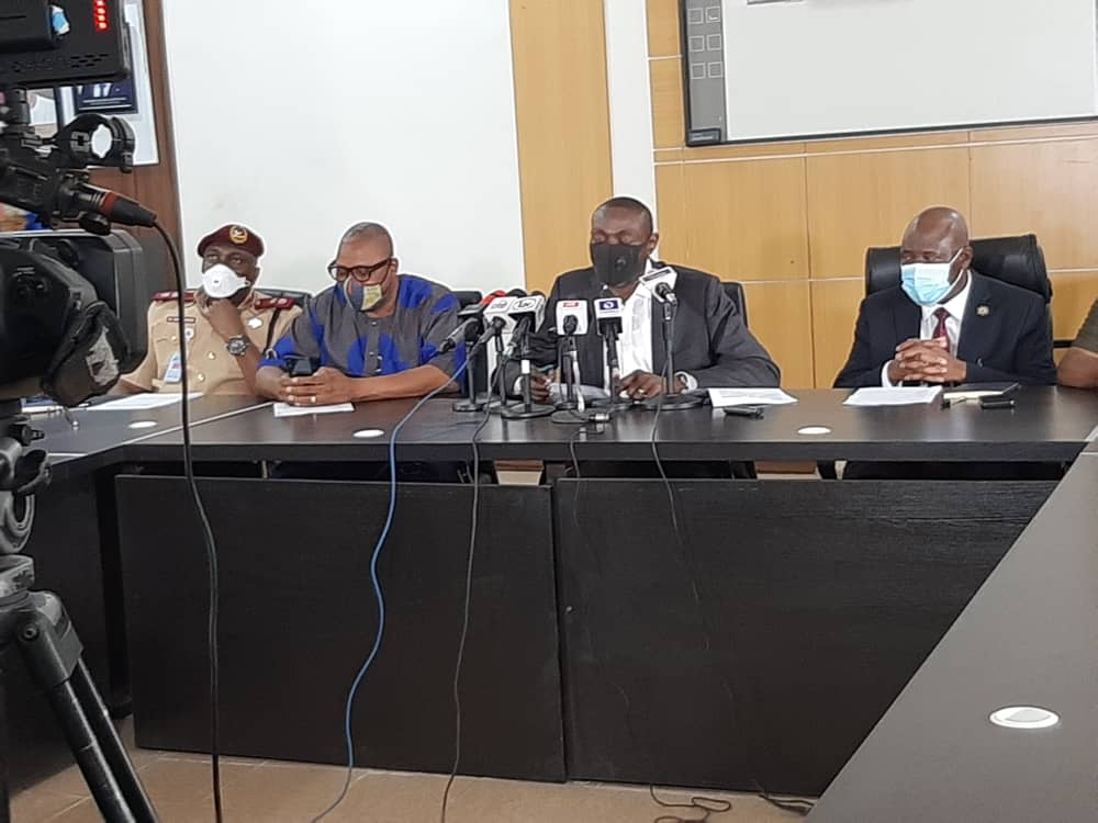 Commissioner for Transportation, Dr. Federic Oladeinde (second right) addressing journalists, Permanent Secretary, Ministry of Transportation, Mr. Oluseyi Whenu (right); Special Adviser to Lagos State Governor on Transportation, Mr. Toyin Fayinka (second left) and a FRSC official during a media briefing on traffic violations by Motorcycle (Okada) and Tricycle riders on Lagos roads, at the Bagauda Kaltho Press Centre, the Secretariat - Alausa, Ikeja, on Wednesday, November 19, 2020.