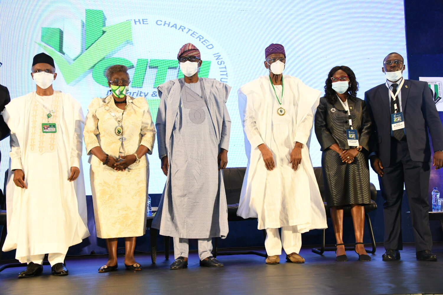 R-L: Kaduna State Governor, Mallam Nasir El-Rufai; his Lagos State Counterpart, Mr. Babajide Sanwo-Olu; The Doyen of Taxation in Nigeria, Chief David Olorunleke and President/Chairman, Chartered Institute of Taxation Of Nigeria (CITN), Dame Gladys Olajumoke Simplice, during the 22nd Annual Tax Conference of the Chartered Institute of Taxation Of Nigeria (CITN) at Eko Hotel & Suites, Victoria Island on Thursday, November 5, 2020.