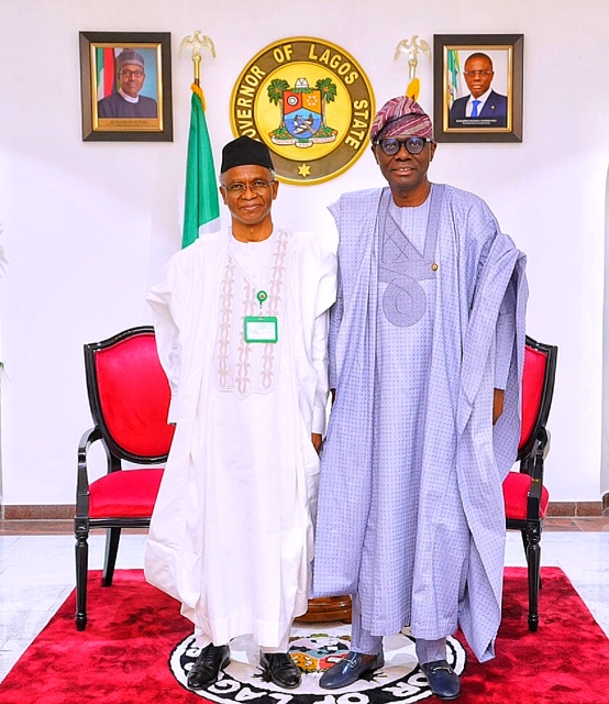 L-R: Kaduna State Governor, Mallam Nasir El-Rufai and Lagos State Governor, Mr. Babajide Sanwo-Olu during El-Rufai's commiseration visit over the recent incident in Lagos, at the Government House, Marina, on Thursday, November 5, 2020.