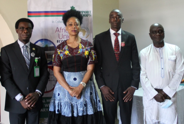 FROM LEFT: Nigeria Representative AU-ECOSSOC, Dr. Tunji Asaolu; Founder Support Our Troops Foundation (SOT) Mrs. Funmi Ogbue; representative of the Ministry of Defence, Mr. Suleiman Mshelia and Consultant to SOT Mr. Uzezi Ikede during the inauguration of the Project Steering Board for the Social Housing Project for Widows of the Nigerian Military & Security Personnel held in Abuja, recently.