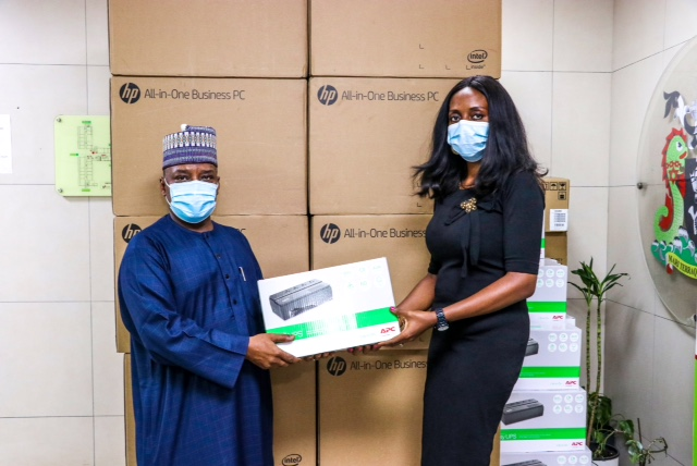 Representative of the MD NPA and General Manager, Land and Assets Administration, Nigerian Ports Authority (NPA), Malam Yusuf Ahmed (left), the General Affairs Manager, Samsung Heavy Industry Nigeria Limited, Adaora Agwuchimezie during the solidarity visit to the Authority on the damage inflicted on NPA Headquarters.