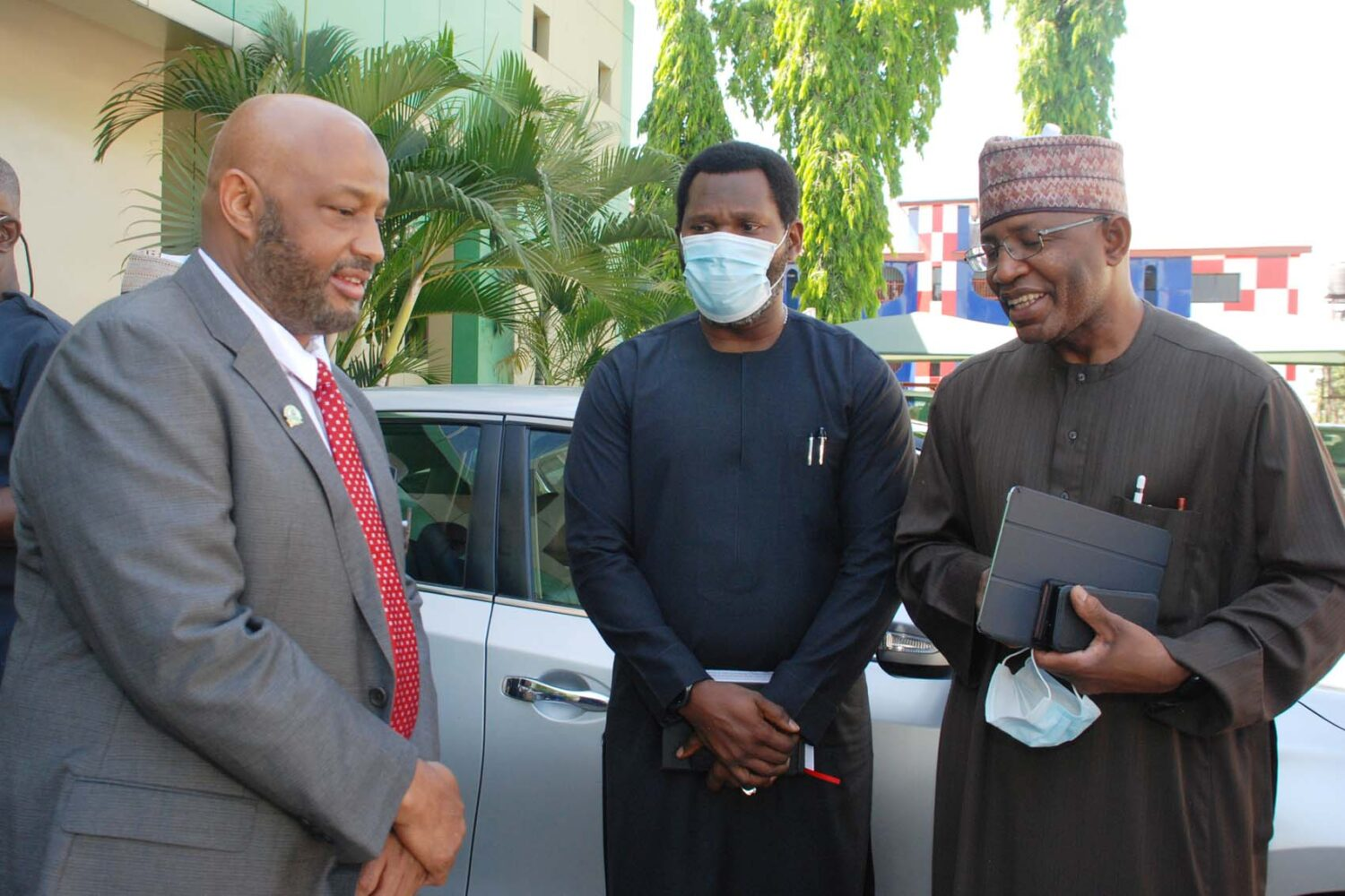 L-R,  Director General, Standards Organization of Nigeria Mallam Farouk Salim, Executive Commissioner Operations Securities and Exchange Commission  Mr Dayo Obisan and Director General SEC Mr Lamido Yuguda during a Meeting between The SEC and SON in Abuja.