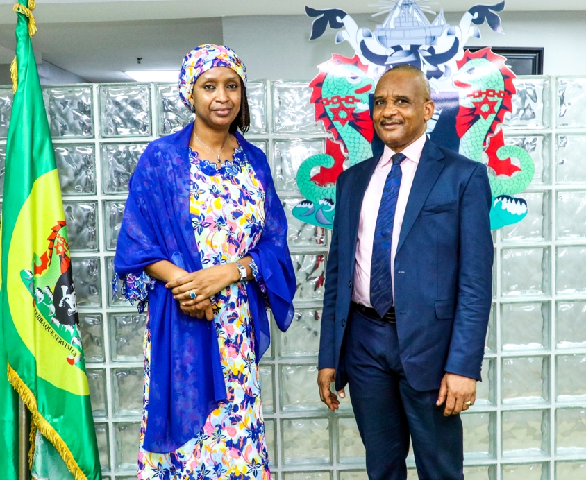 The Managing Director, Nigerian Ports Authority (NPA), Hadiza Bala Usman (left) played host to the Director General of Nigerian Maritime Administration and Safety Agency (NIMASA), Bashir Jamoh, who was on a courtesy call to the MD at the Corporate Headquarters in Marina, Lagos.