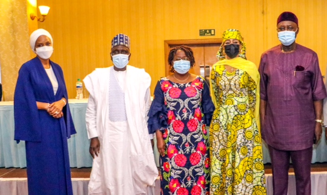 L-R: The Managing Director of the Nigerian Ports Authority (NPA), Hadiza Bala Usman, Senator IbrahiimYahaya Oloriegbe, the Permanent Secretary, Federal Ministry of Transportation, Dr. Magdalene Ajani,Member, House of Representative, Hon. Lynda Ikpeazu, Chief Executive Officer, National Inland Waterways Authority (NIWA), George Moghalu during the occasion.
