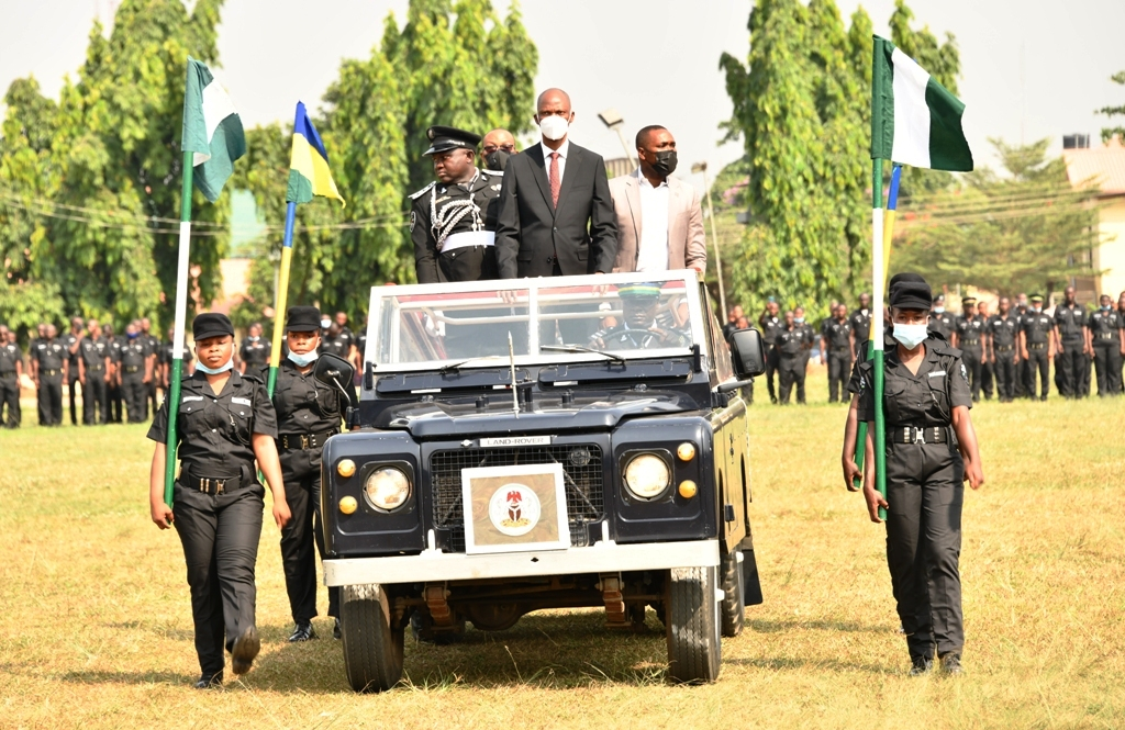 Mr. Tayo Ayinde, representative of Lagos State Governor and the Chief of Staff to the Governor (middle in motorcade), inspecting the Guard of Honour during the passing out parade of 1,250 Community Policing Special Constabulary Officers at the Police College, Ikeja, on Tuesday, January 5, 2020.