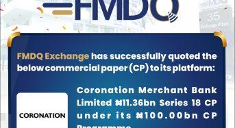FMDQ Approves Coronation Merchant Bank's Quotation