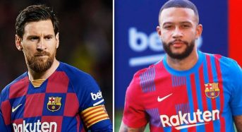 FC Barcelona present new signing Depay, as uncertainty still surrounds Messi