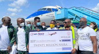 Air Peace boss fulfils promise to Eagles, harps on unity
